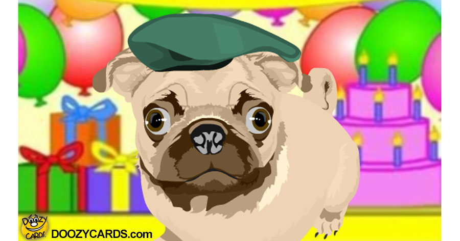 Talking Pug Birthday party e-card
