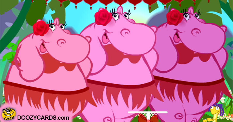 Caribbean Hippos in Paradise Anniversary ecard
