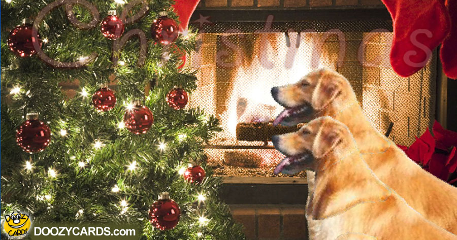 golden retriever christmas e card