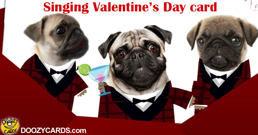 Pugs in Plaid Doo Wop Valentine