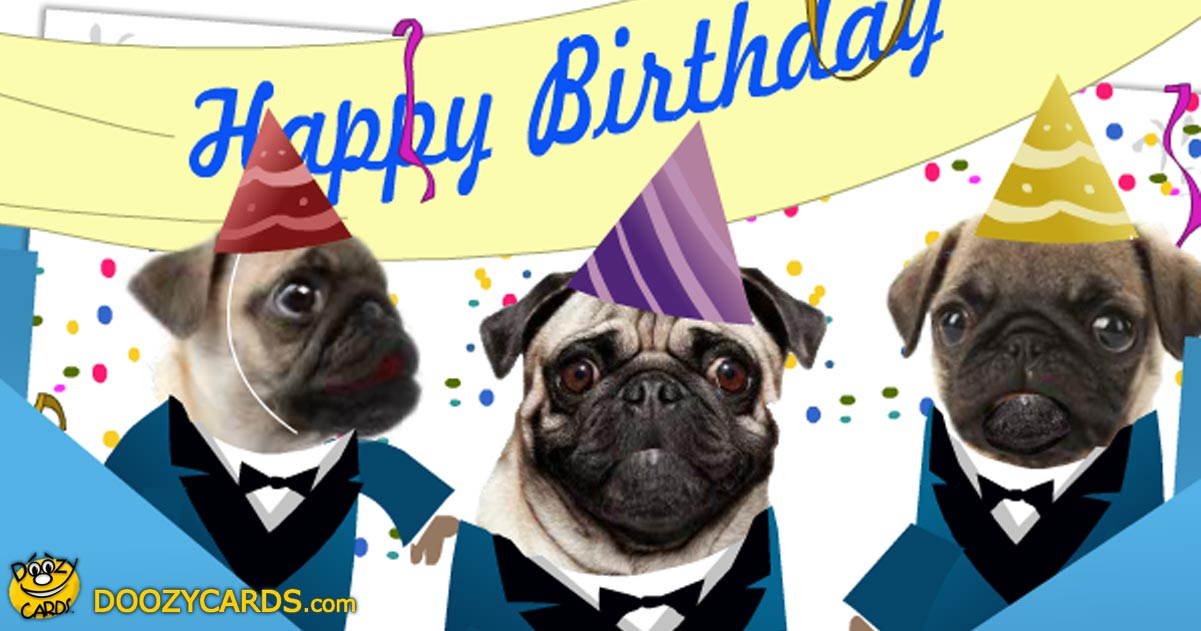Pug Birthday Ecard Dogs Singing Happy Birthday Ecard