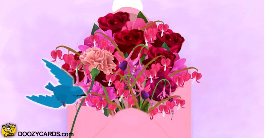 Bluebird Valentine Bouquet