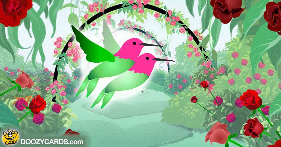 Hummingbirds & Roses Valentine